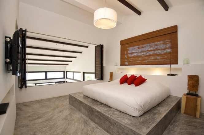 Floor Bed Ideas Black White Red Bedroom Conrete Interior
