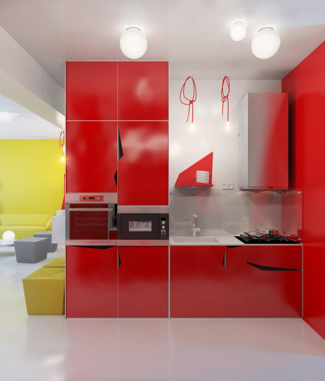 Contemporary Red Kitchen Units Interior Design Ideas