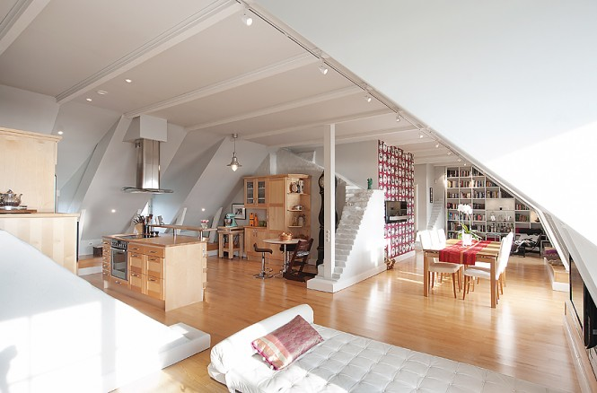 As you look closer at this open plan residence, you begin to notice wall remnants that remain as low level dividers in the space; they have the appearance of tiny staircases that disappear mysteriously into the wall or off into the ceiling. The unusual brickwork brings charm and interest to the large airy space, and the homeowners have been careful not to overpower the original features with a complicated décor.