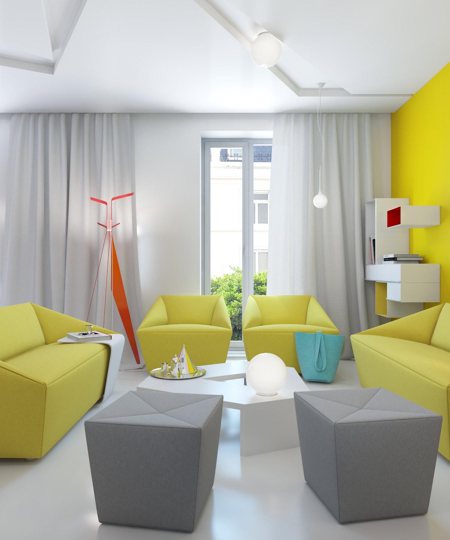 Yellow gray white modern living room interior design ideas blue bedroom decor