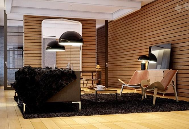 Black rug designer chairs large pendant light