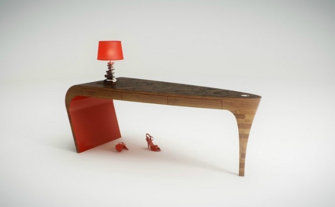 modern unusual curved desk