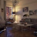 White Modern Living Room Gray Black Sofa Chair Interior