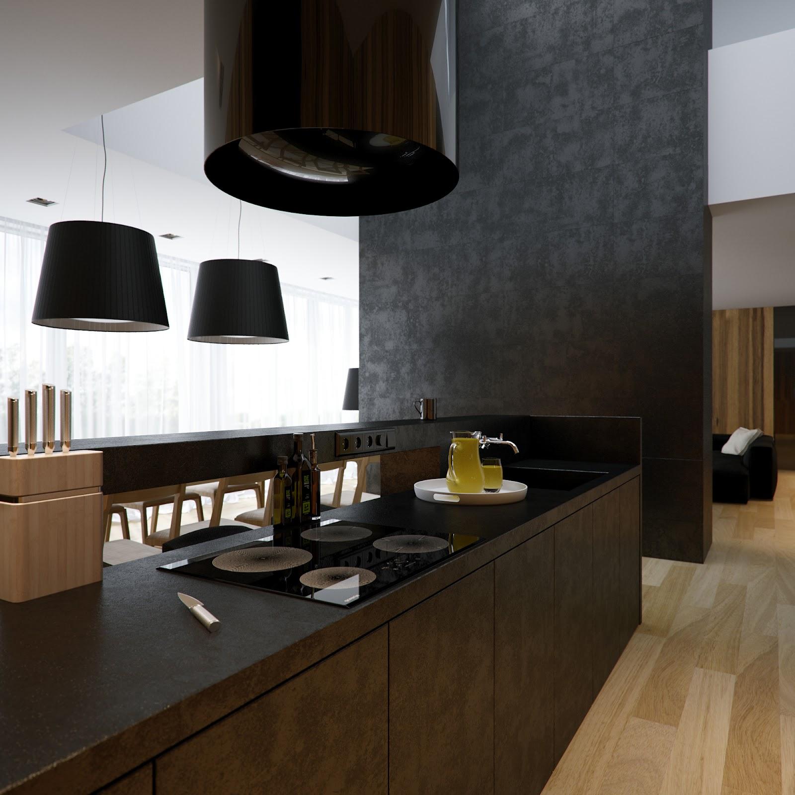 Black White Kitchen Chimney Extractor Fan Interior