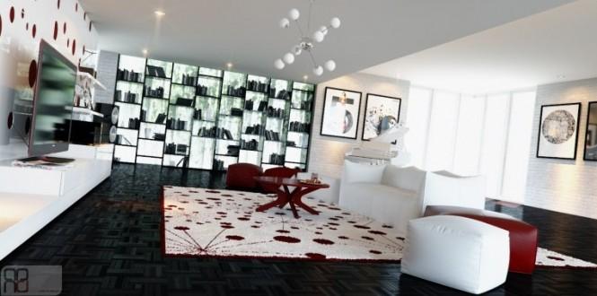 Red white living room decor