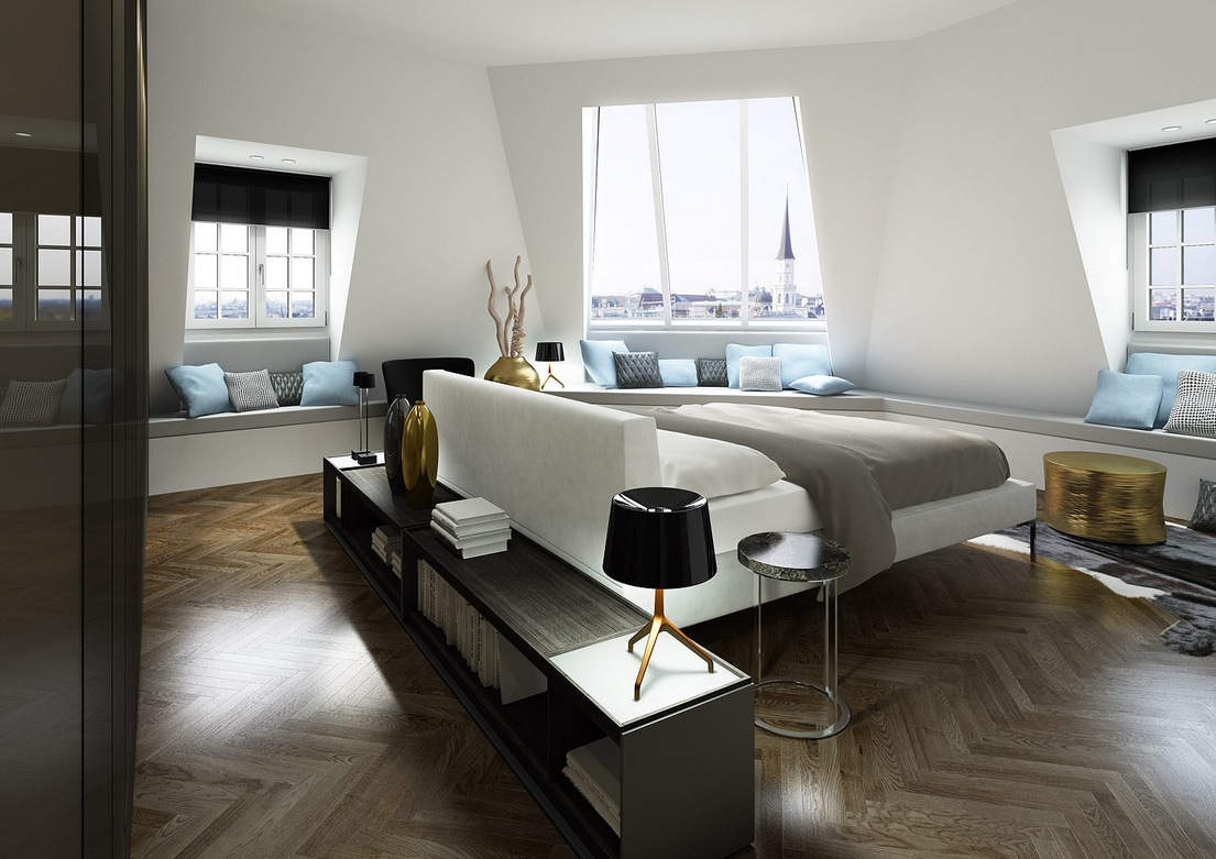 White Blue Gray Modern Bedroom Decor