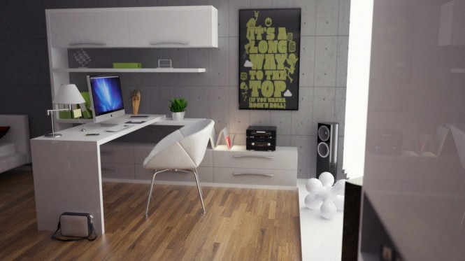 green gray white office decor