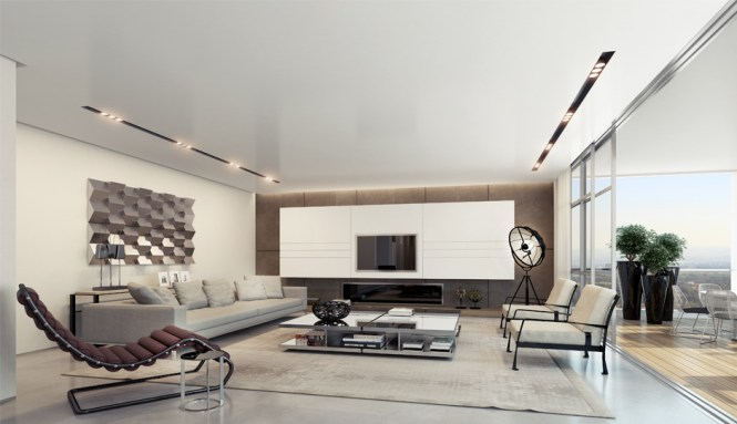 Contemporary Medium Tone Wood Floor And Brown Living Room Idea In Moscow With White Walls