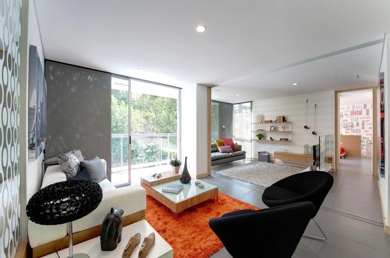 Black Orange Gray Living Room Interior Design Ideas Part 38