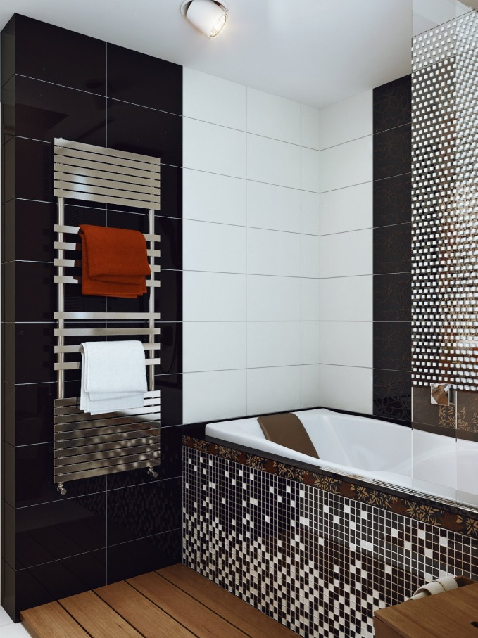 Mosaic bathroom. large makeover with a central. mirror tiles home ...
