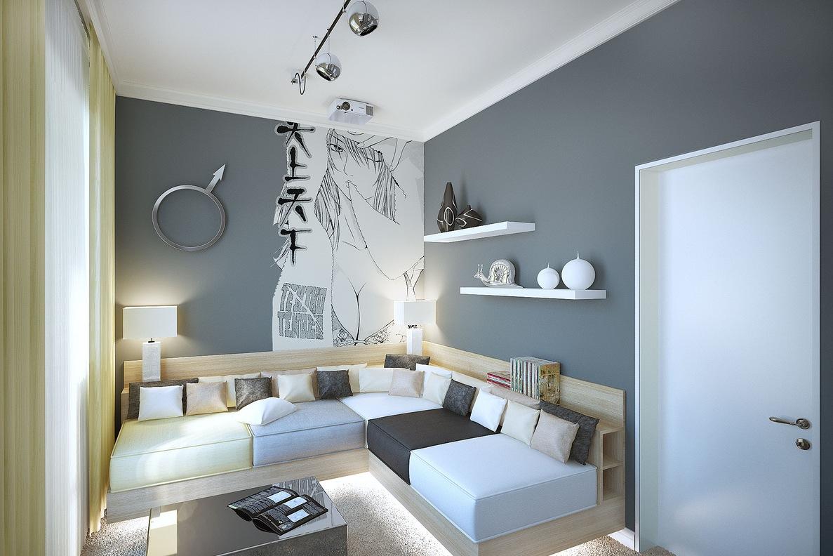 Gray White Manga Styleliving Room