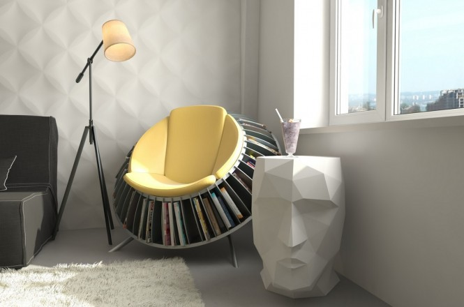 Via Andre RoshIf you don't have enough floor space to dedicate a large area solely to your reading place, then how about just one chair? This rack chair is a quirky way to hold your reading material close at hand without encroaching on the rest of the room.