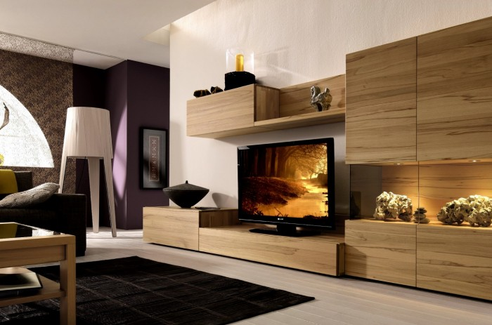 light wood media center with wall unit