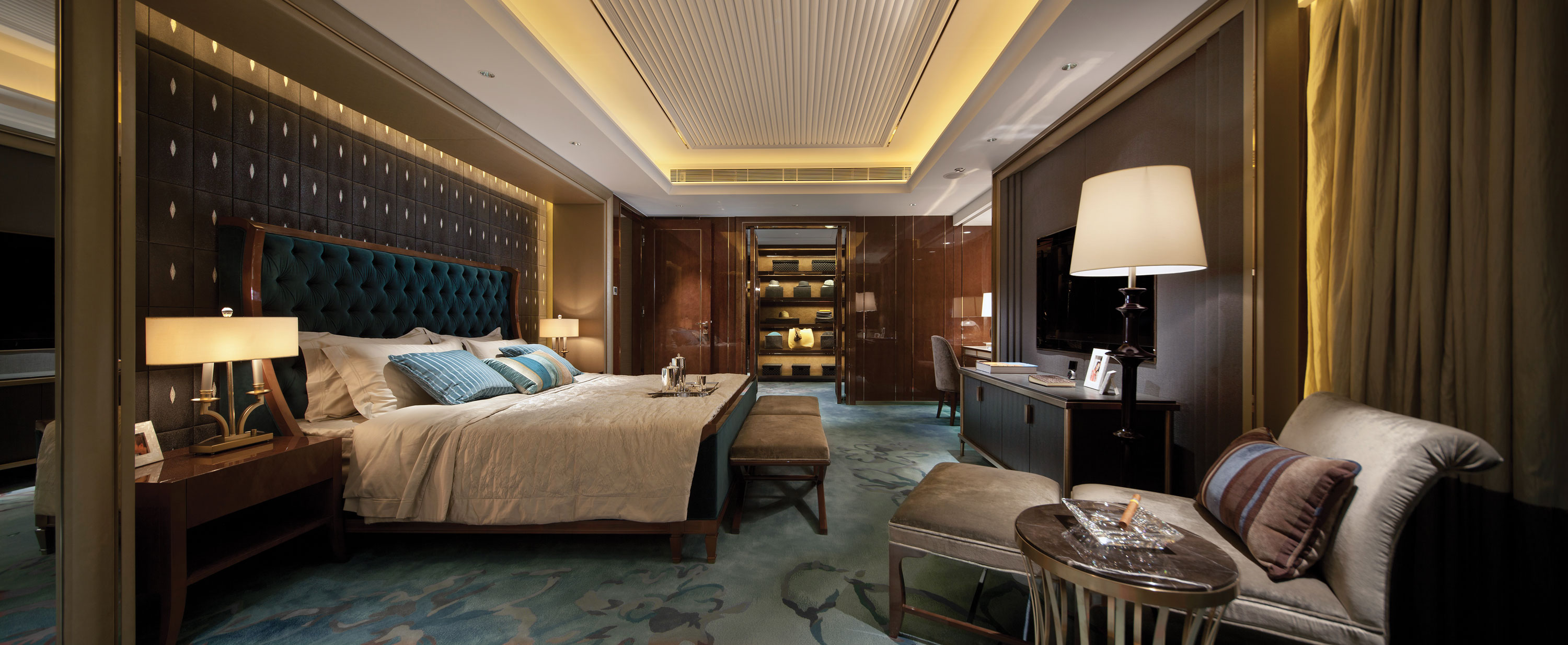 opulent blue and brown bedroom panorama   Interior Design Ideas  Like Architecture   Interior Design  Follow Us