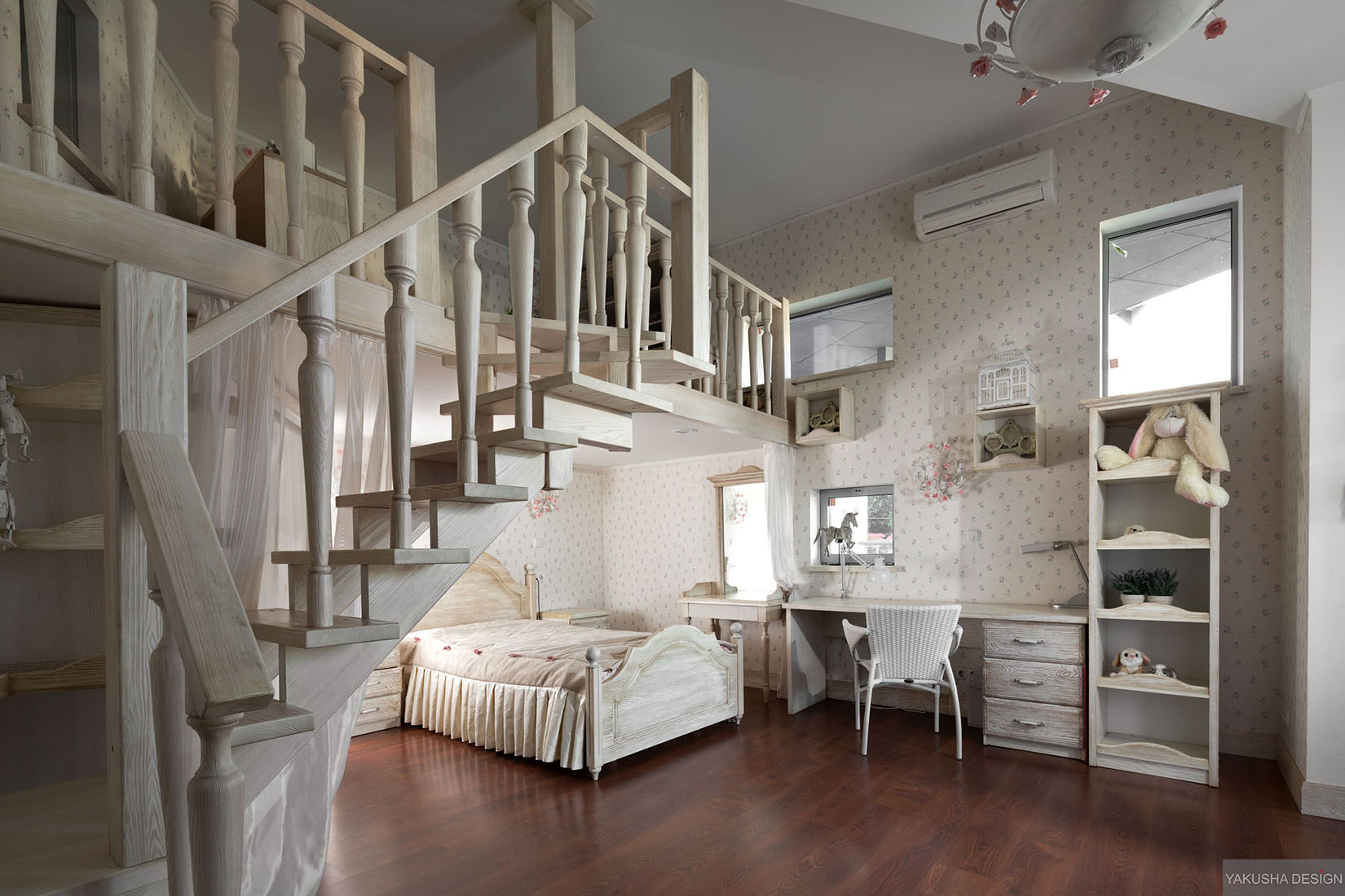 Dreamy Floral And White Bedroom With Mezzanine Homework