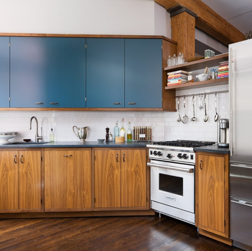 Brick Wall Studio Apartment By Stephan JAKLITSCH GARDNER Wood And Teal Gas Kitchen