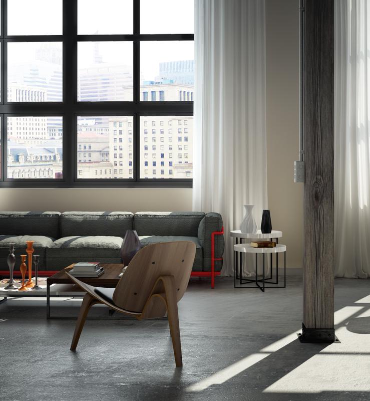 Perserverence Design Cool Palette Elemental Wood With Concrete Floor Living Interior Design