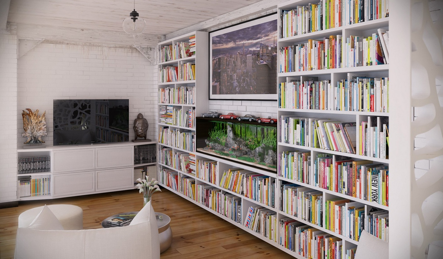RIP3D Industrial Loft Entertainment Area Library With