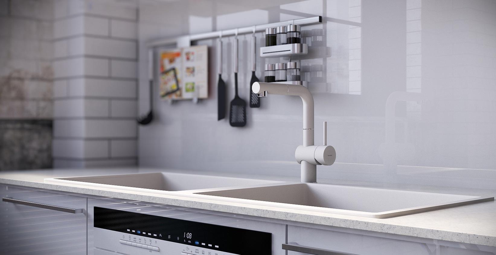 RIP3D Industrial Loft High Gloss White Kitchen Island Splash Back Interior Design Ideas