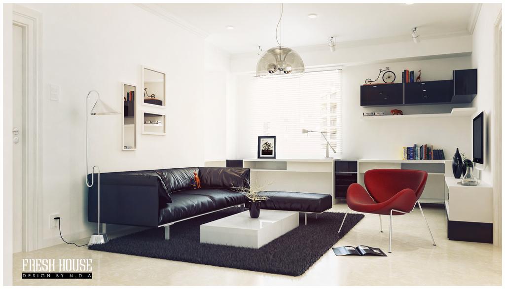Black White Living Room Red Accents Interior Design Ideas Part 96