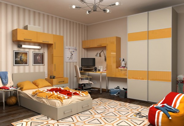 Yellow is a gender neutral shade that adds a lively blast to any kids room, and the cool geometric shape rug really adds to the oomph in this room too.