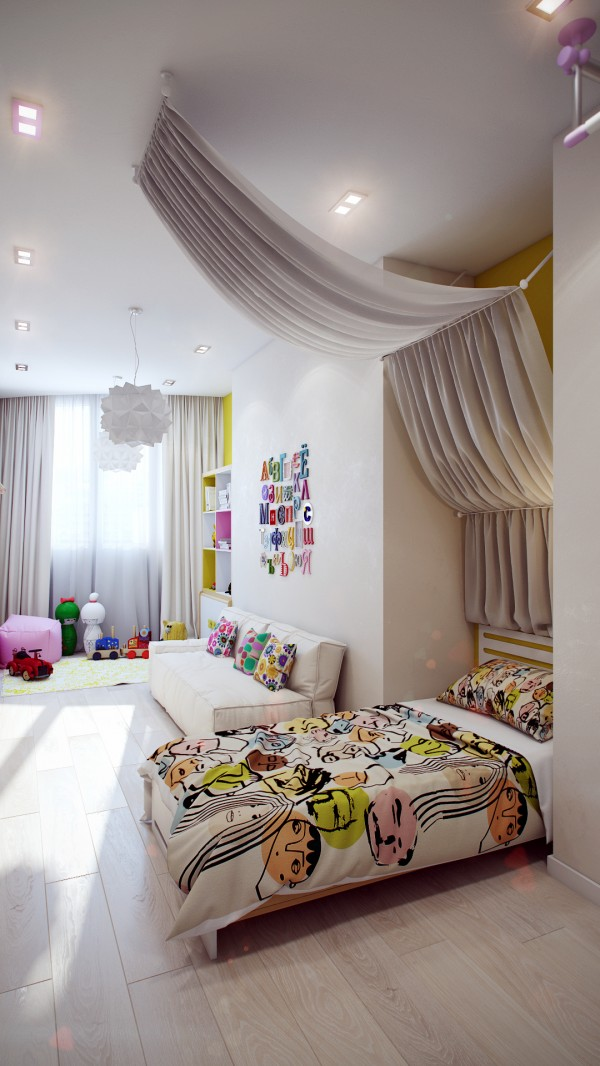 Modern white kids room