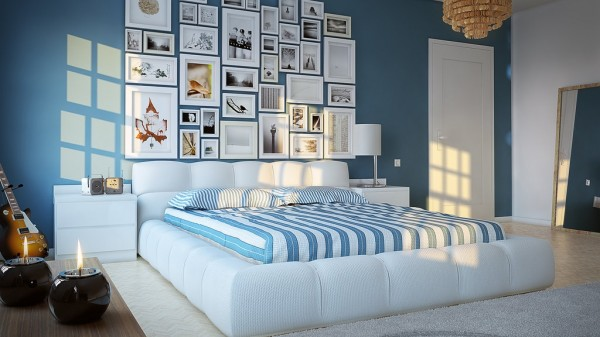 A calming environment can be created with sky blue hues teamed with pure white. With a bedroom scheme this dreamy you might want to steal it for yourself!