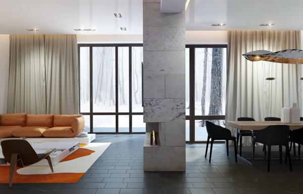 Central Fireplace Interior Design Ideas