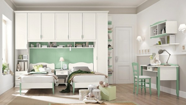 Mint white girls bedroom