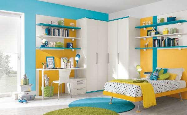 Blue yellow white bedroom decor