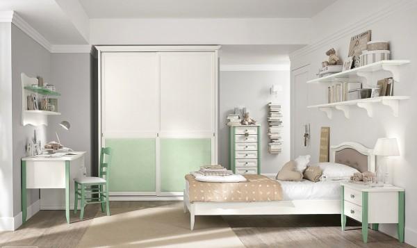 White mint girls room
