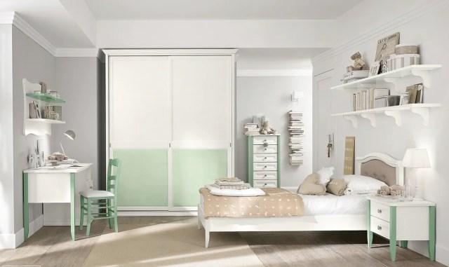 | White mint girls roomInterior Design Ideas.