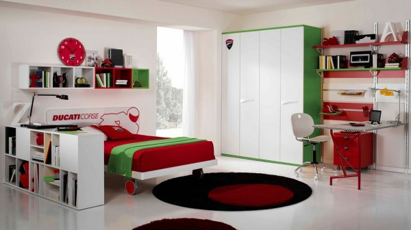 This MotoGP themed kids room uses rich green accents to balance out the hot red.