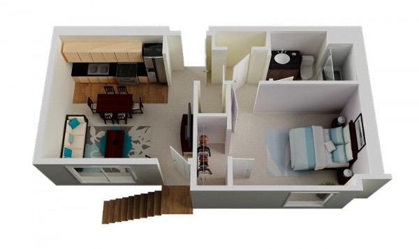Long an lean, this walk up apartment is all about utilizing a compact space. It features one bedroom, one bathroom, two large closets, and a combined living, kitchen, and dining space.