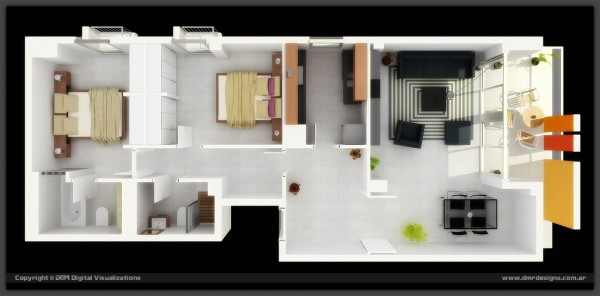 In one streamlined design, this two bedroom runs from east to west in a seamless space that's anchored by a patio with bold exterior columns.