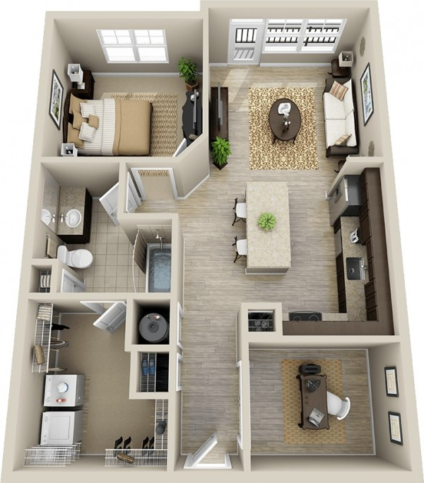 A one bedroom apartment fit for an executive, this one bedroom and one bathroom apartment features it's own private office, a large L-shaped kitchen with island, a cozy living area, balcony access, and quite possibly one of the largest walk-in closets we've ever seen in a one bedroom!