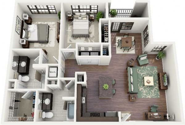 Just when you thought a two bedroom couldn't be better, this plan shows that it's really the details that make it all matter. From granite countertops, ample kitchen space, large closets and a charming balcony, to the a cozy island, this space is made with a wow factor in mind.