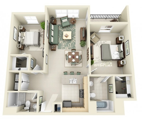 With seating for four, a kitchen island for three, two bedrooms, two bathrooms, and plenty of closet space, this apartment begs to have guests over.