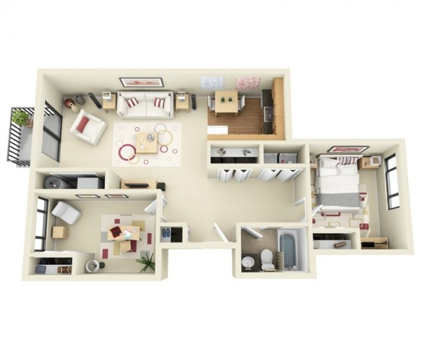 In this visualization, you'll see that a spacious two bedroom can be turned into a paradise for the single or a couple looking for a balance between work and living space. The master bedroom here is turned into a large office yet remains just private enough to not disturb the rest of the apartment, which has ample closet space even in such an efficient design.