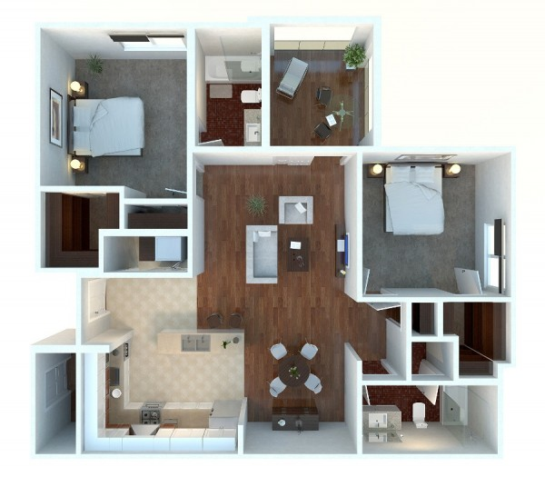 For an apartment that sticks just to the basics but doesn't sacrifice high style, you'll love this plan. Rich hardwoods, sumptuous tile, and a partially enclosed patio makes this two bedroom easy to fall in love with.