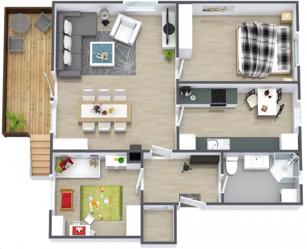 Ideal for a small family, this simple two bedroom house plan can incorporate just enough space for the essentials while giving you and your child enough room to grow. Enjoy summers out on the deck, dinner parties in the dining area, and plenty of backyard space for play.