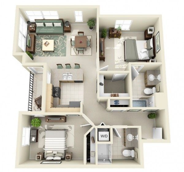 Looking for the feel of a larger space but only need two bedrooms? This design would be happy to obliged with ample space for furniture and belongings alike. A generous master suite and large layout ensures comfort for singles and couples.