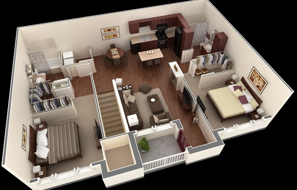 2 Bedroom Apartment House Plans | House Plans With Stairs In Kitchen | Upstairs | Country Kitchen | Hidden Pantry | Luxury | Small House
