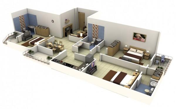3 bedroom 3d floorplans