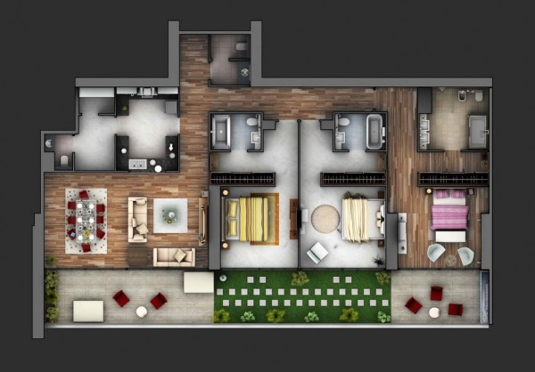 3 bedroom apartment layout