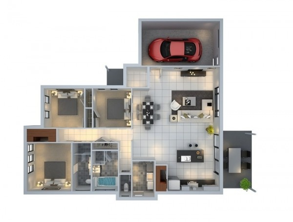 3 bedroom house with garage plan