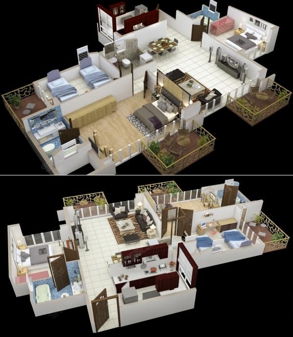 3 bedroom with 3 balconies