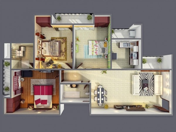 Each of the three bedrooms in this visualization have their own distinct personality, from floor treatments to bright wall coverings, encouraging individual expression.