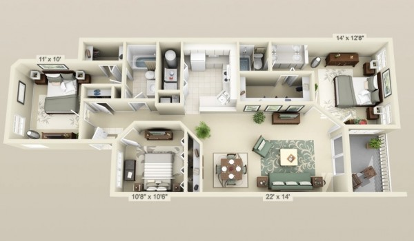 cool 3 bedroom 3d plans