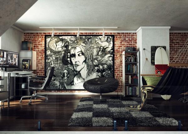 loft wall art work